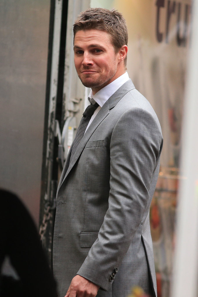 Stephen Amell gave a smirk on the Vancouver set of Arrow on Tuesday.