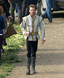 Chris Pine looked rather princely on the UK set of Into the Woods on Wednesday.