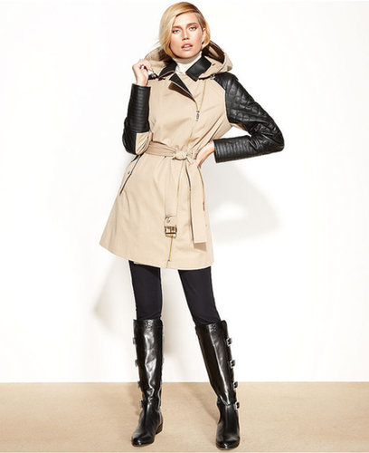 MICHAEL Michael Kors Coat, Faux-Leather-Trim Belted Trench