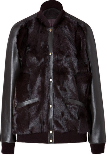 Sophie Hulme Haircalf/Leather Bomber Jacket in Grey/Brown