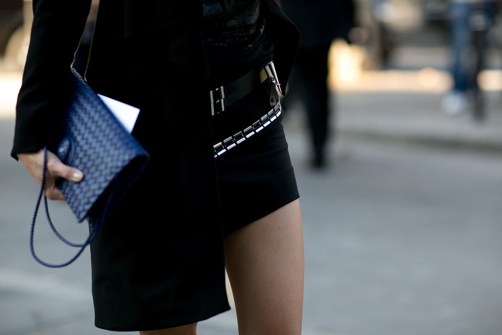 A touch of blue to brighten up tough-girl black.