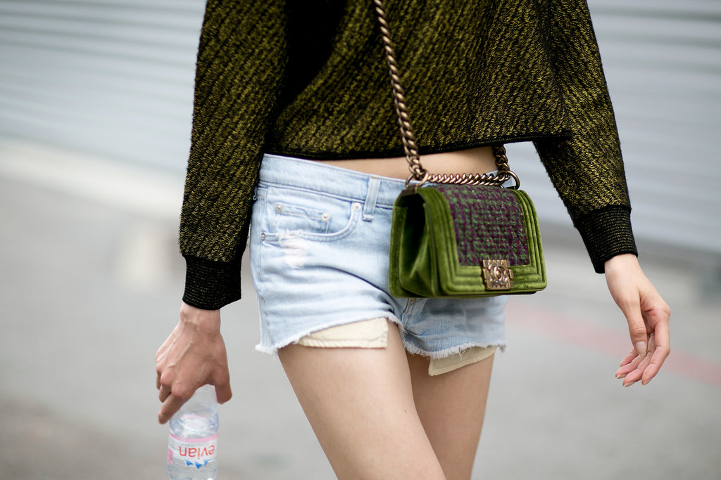 A little moss green Chanel to match your top.