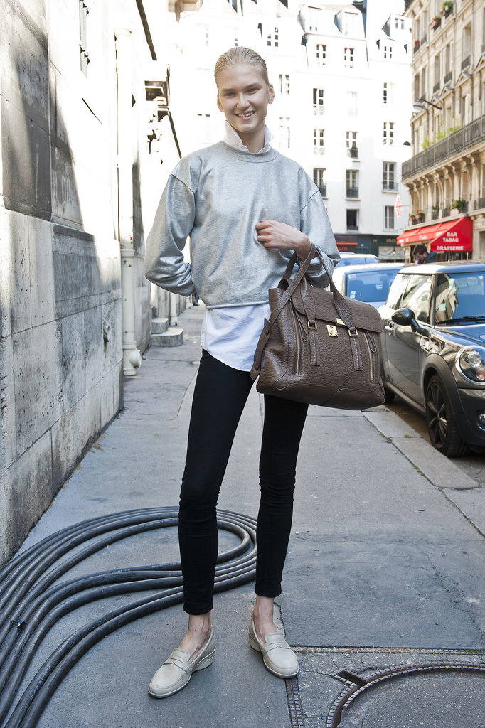 Armed with a 3.1 Phillip Lim Pashli and a pair of loafers. We're all about this look.