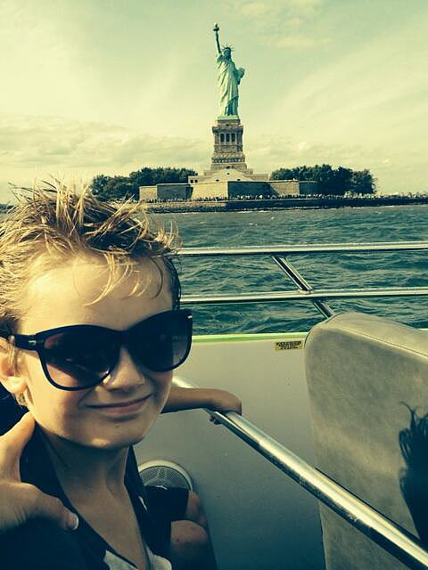 Evan Asher cruised by the Statue of Liberty during a visit to NYC. Source: Twitter user JennyMcCarthy
