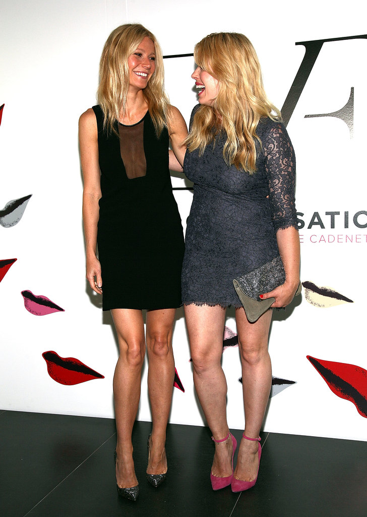 Gwyneth Paltrow had a laugh with Amanda de Cadenet as they arrived at the launch celebration for The Conversation in NYC in May 2012.
