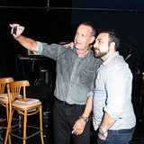 Tom Hanks took a snap with a friend in September at a Shakespeare festival at Santa Monica College. Source: Aleks Kocev/BFAnyc.com