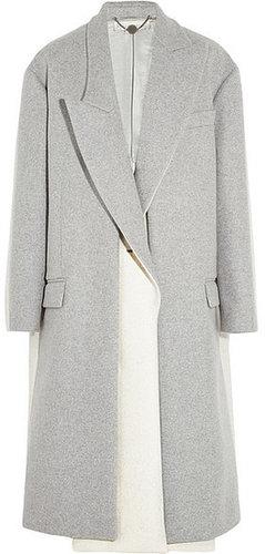 Stella McCartney Manteau en feutre de laine mélangée bicolore oversize