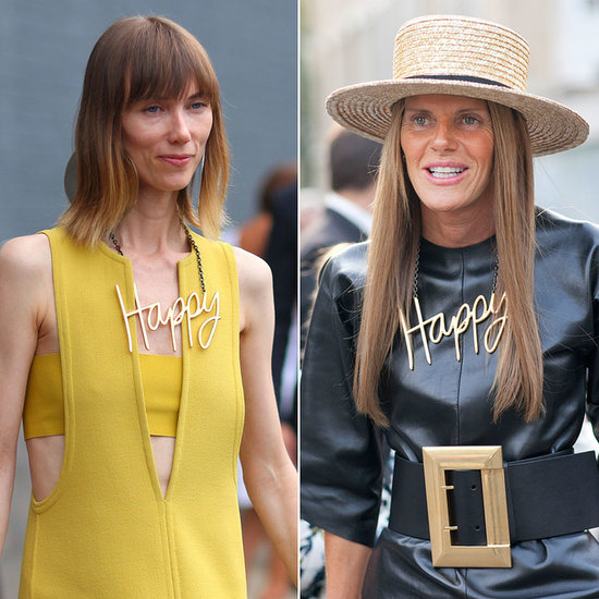 Anya Ziourova and Anna Dello Russo both wore their emotions on their necklaces with Lanvin's statement baubles.
