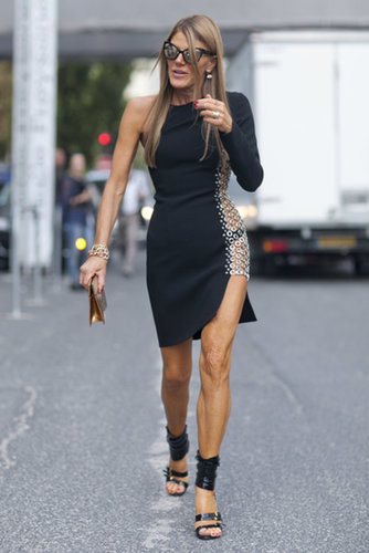 A supersleek Anna Dello Russo made her way to the shows.