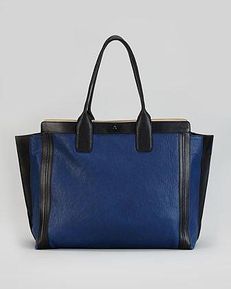 Chloe Alison East-West Colorblock Tote Bag, Navy