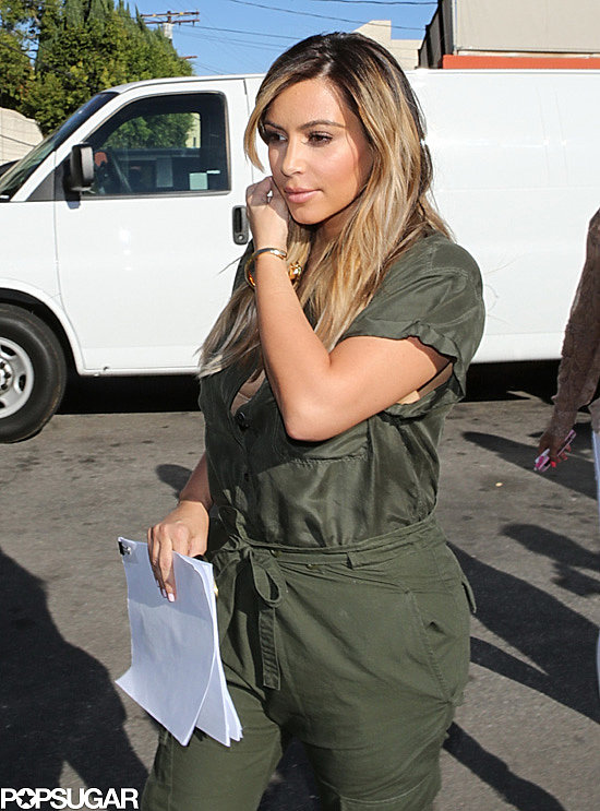 Kim Kardashian got back to work in LA when she filmed a scene for her reality show, Keeping Up With the Kardashians.