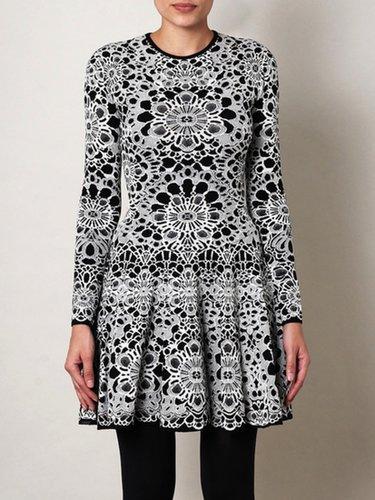 Bicolour Flower Jacquard Dress (On Sale)