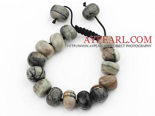 Assorted Fillet Irregular Shape Picasso Stone Knotted Adjustable Drawstring Bracelet