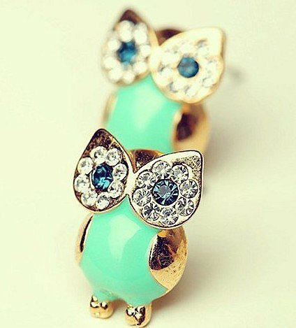Image of Green Owl Earrings