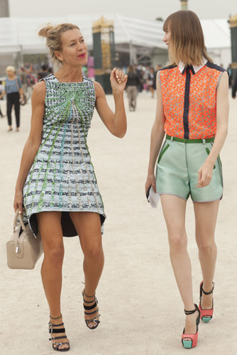 Natalie Joos and Anya Ziourova showed off two different looks but must have gotten the same color memo.