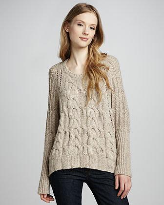 Autumn Cashmere Chunky Cashmere Hi-Lo Sweater, Sandpaper
