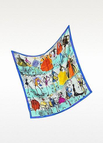 Christian Lacroix 20 Ans Print Silk Square Scarf