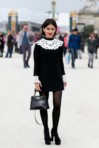 Outside Viktor & Rolf, Miroslava Duma did a prim play on black and white.