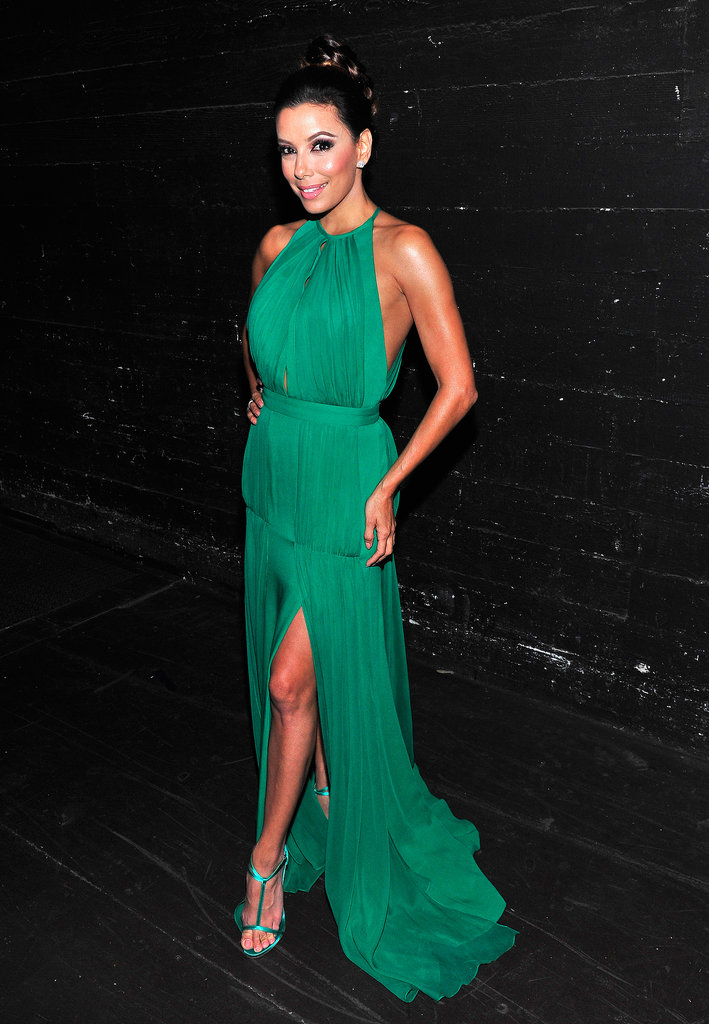 Randi Rahm's emerald goddess-style slit-front gown matched Eva's green t-strap sandals perfectly at the 2013 Alma Awards.