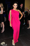 Eva popped in a magenta sleeveless one-shoulder Paule Ka gown while posing backstage.