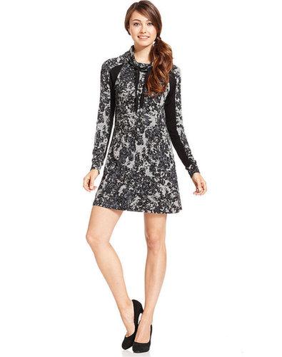 Kensie Dress, Long-Sleeve Printed A-Line