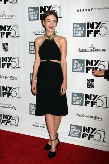 Carey Mulligan wore an Alexander McQueen dress at the New York Film Festival.