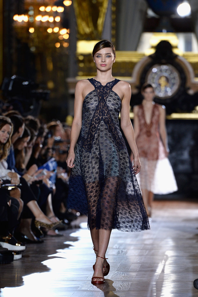 On Monday, Miranda Kerr walked the runway during Stella McCartney's show.