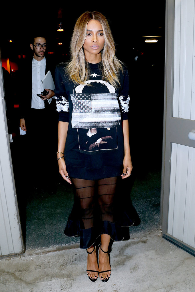 Ciara wore a black ensemble on Sunday at Givenchy's show.