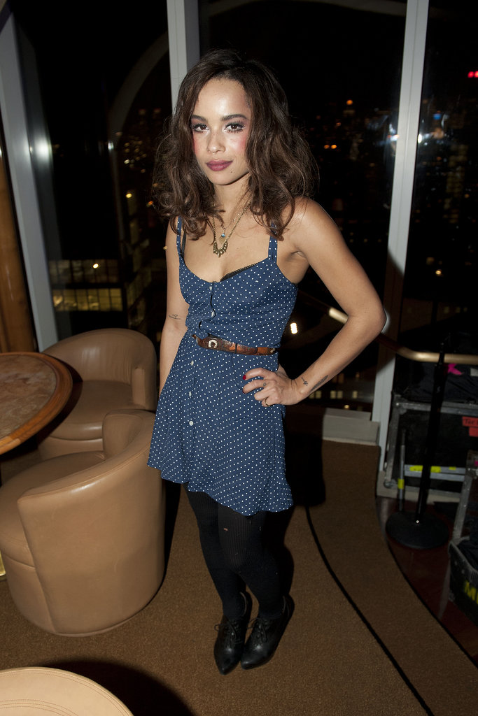 Zoë Kravitz got dolled up in a Topshop navy and white polka-dot romper at a DeLeon Tequila party in NYC.