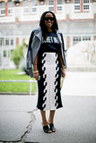 Shiona Turini's laid-back look came with a moto jacket and a knit pencil skirt.