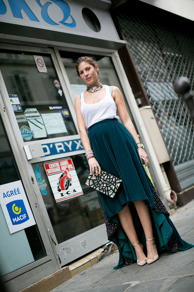 A high-low hemline added a little drama, but those accessories added a little more.