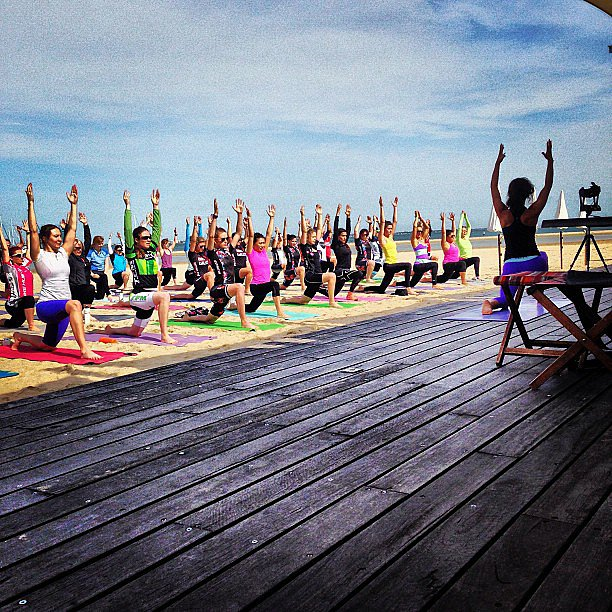 Post ride yoga for Women's Ride Month. Who's been out on their wheels? Source: Instagram user lululemonausnz