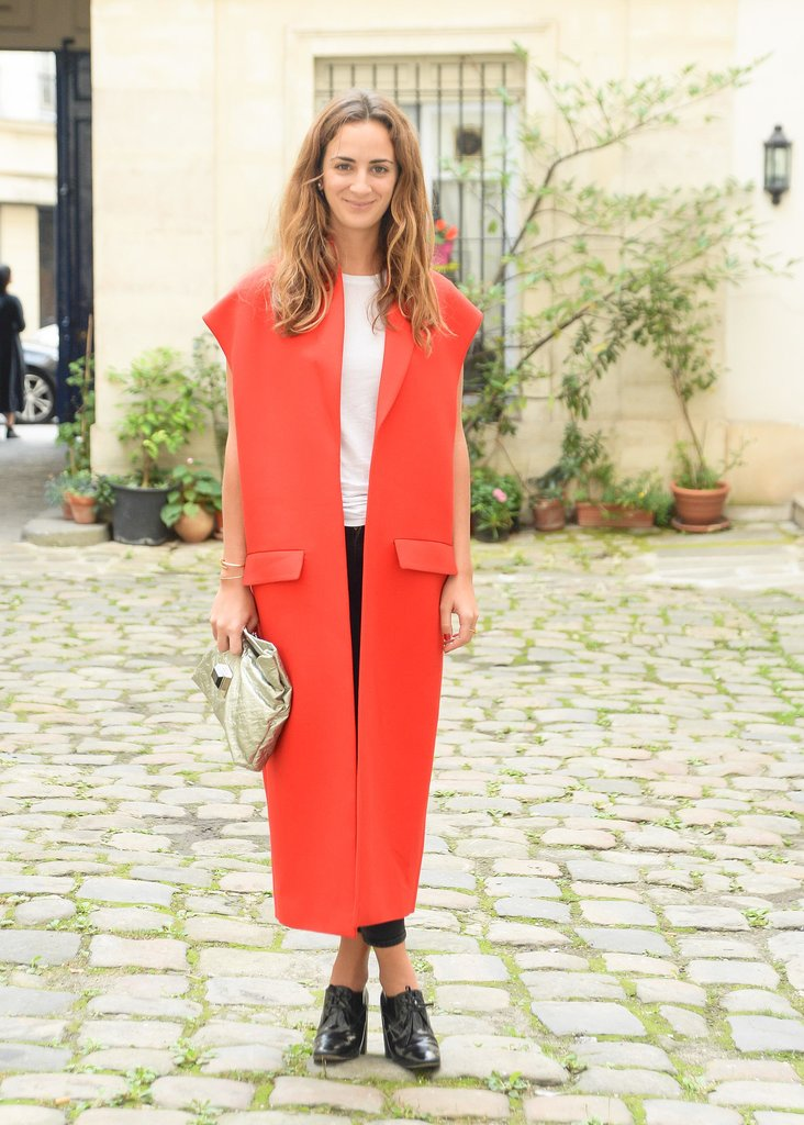 Alexia Niedzielski topped her style with a bright red design outside the Delfina Delettrez presentation in Paris.
