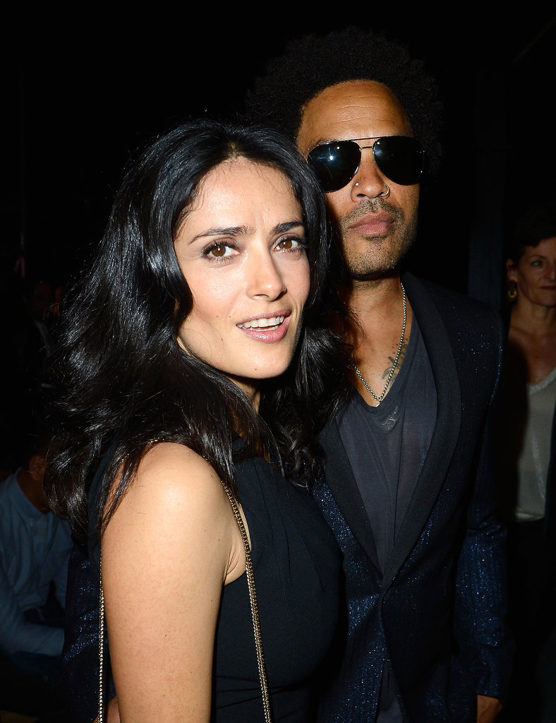 Salma Hayek and Lenny Kravitz at Saint Laurent Spring 2014.