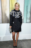 Rita Ora worked a funnel-neck minidress with a silver metallic Chanel mini bag at the designer's show in Paris.
