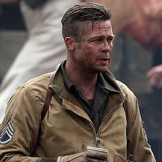 Brad Pitt and Shia LaBeouf on the Set of Fury in London