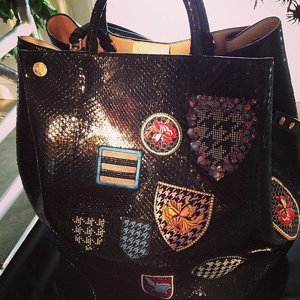 Want to join the Dior club? You may need to snag this bag, complete with badges that contain such prints as houndstooth, which is a hallmark of the brand's DNA.  Source: Instagram user popsugarfashion