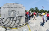The World War II memorial was blocked off to visitors.