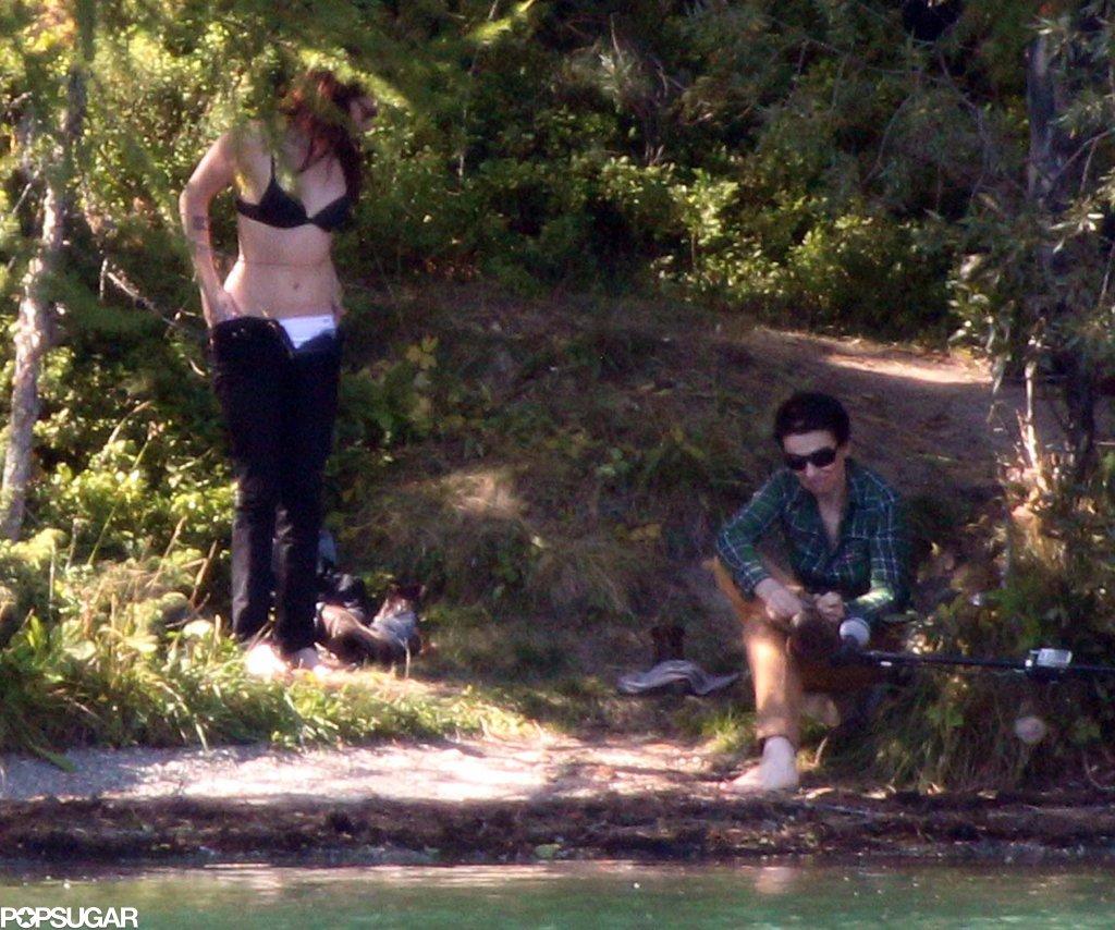 Kristen Stewart stripped down with costar Juliette Binoche while filming in Switzerland.