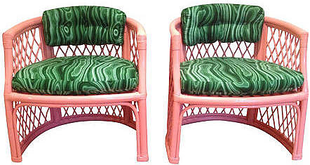 Parker Kennedy Coral & Faux-Malachite  Chairs, Pair