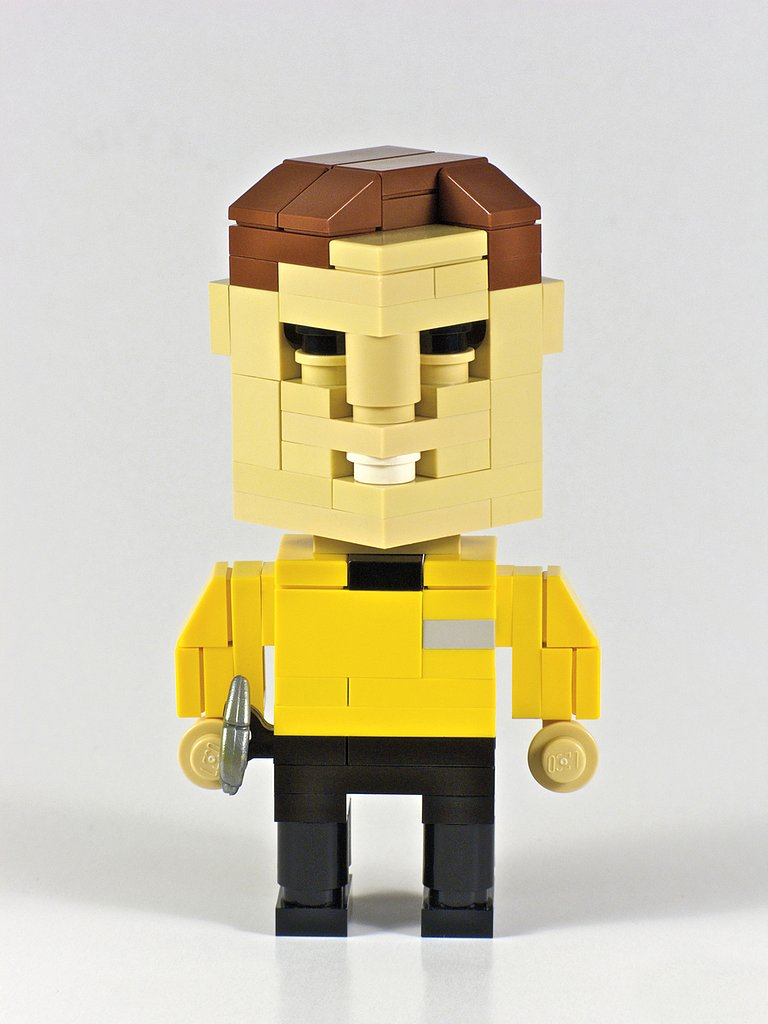 Even in bricks, Captain Kirk has a certain charm. Source: CubeDude Captain Kirk (2009) © Angus MacLane