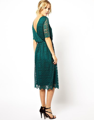 ASOS Midi Lace Dress With Wrap Back