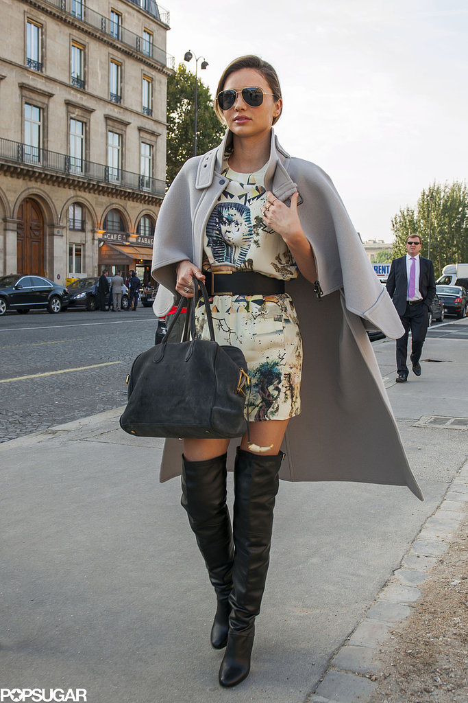 Miranda Kerr stepped out wearing knee-high boots in Paris.