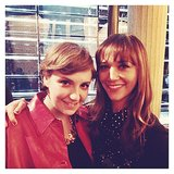 Lena Dunham and Rashida Jones posed together at the Miu Miu runway show during Paris Fashion Week. Source: Instagram user cutblog