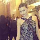 Stella McCartney snapped her opening model, Miranda Kerr, in a pretty lace dress from the Spring 2014 collection. Source: Instagram user stellamccartney