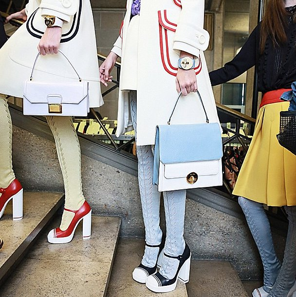 Does it get any better than Miu Miu's colorblock accessories? Source: Instagram user miumiu