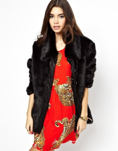 Minkpink Faux Fur Coat With PU Panel