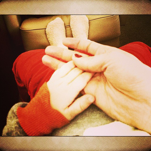Hilary Duff spent some time admiring Luca's cute little hands. Source: Instagram user hilaryduff