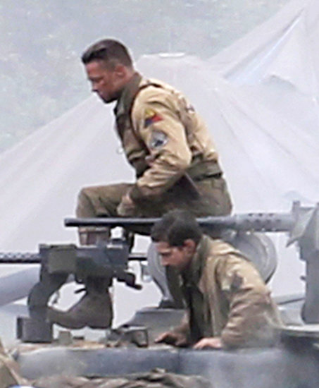 Brad Pitt and Shia LaBeouf reported for duty to film Fury on Monday in England.