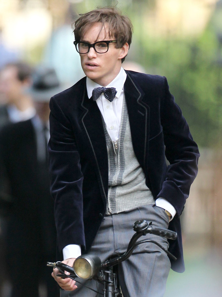 Eddie Redmayne transformed into Stephen Hawking on the set of Theory of Everything in England on Monday.